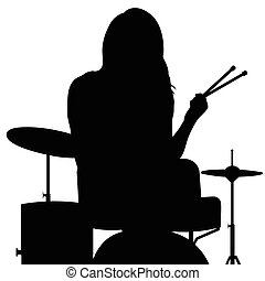girl playing drums silhouette in black illustration