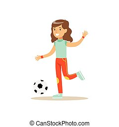 Girl Playing Football, Kid Practicing Different Sports And Physical Activities In Physical Education Class