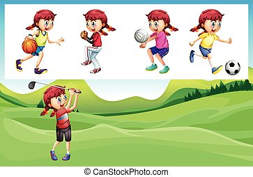 Girl playing golf and other sports