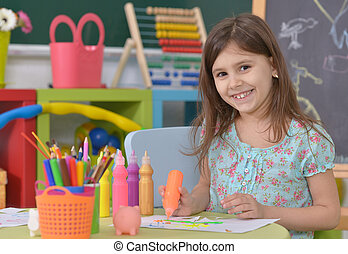 girl playing in room