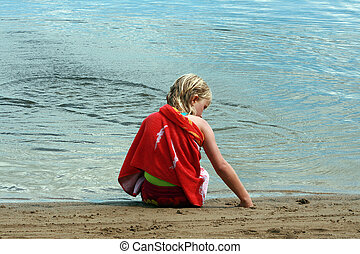 Girl Playing in Sand