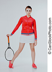 girl playing in the tennis racket sports