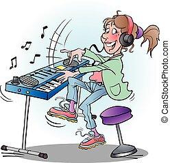 Girl playing keyboard - Vector cartoon illustration of a...