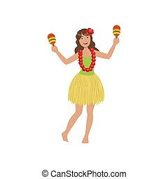 Girl Playing Maracas Hawaiian Vacation Classic Symbol....