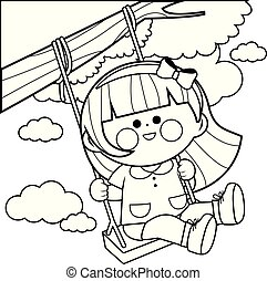 Girl playing on a tree swing. Vector black and white coloring page