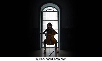 Girl playing on Cello a musical composition in the evening against the window