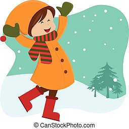 Girl playing outdoor-winter