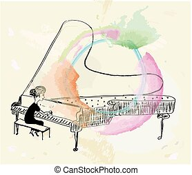 Girl playing piano sketch - vector graphic illustration with...