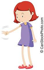 Girl playing rock paper scissors