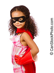 Girl playing super hero - Portrait of pretty mixed race...
