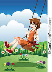 Girl playing swing in a park