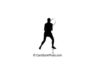 Girl playing tennis in the sports form. White background. Silhouette