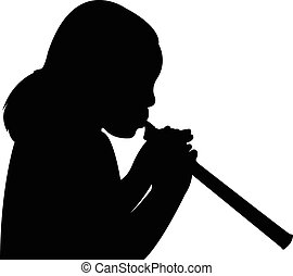 girl playing the flute, silhouette