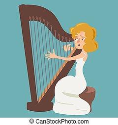 girl playing the harp vector cartoon