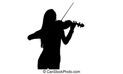 Girl playing the viola. Silhouette on white background. Slow motion