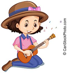 Girl playing ukulele on white background illustration