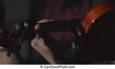 Girl playing violin - The girl plays the violin in a dark...