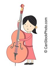 Girl playing violoncello isolated on white background - Vector illustration