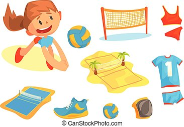 Girl playing with a ball at beach volleyball set for label design. Sports equipment for volleyball. Cartoon detailed Illustrations