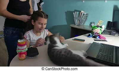 girl playing with a cat. Mom makes a hairdress for her...