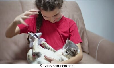 girl playing with a cat sitting on the couch. girl child and...