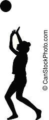 girl playing with ball, silhouette vector