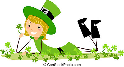 Girl Playing with Clovers