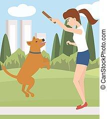 girl playing with dog at park vector cartoon