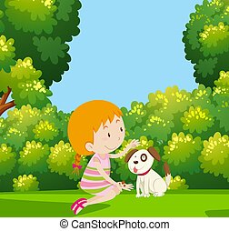 Girl Playing with Dog in Garden