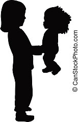 girl playing with doll, silhouette vector