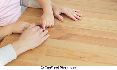 Girl playing with hand spinner