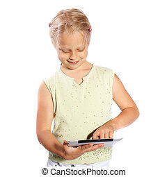 girl playing with his digital Tablet