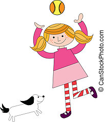 girl playing with pet and ball - a vector illustration of a ...