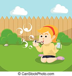 girl playing with soap bubble