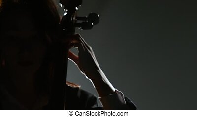 Girl plays a cello on a musical instrument. Silhouette. Black smoke background