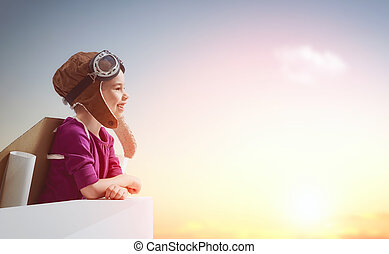 girl plays astronaut - Little child girl plays astronaut....