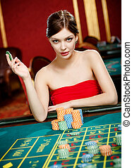 Girl plays at the casino club