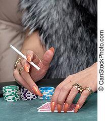 Girl plays poker