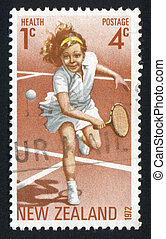 girl plays tennis