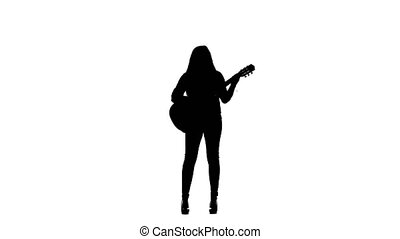 Girl plays the guitar and sings. White background....