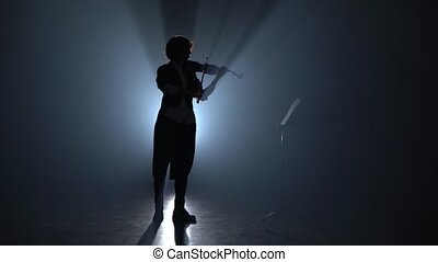 Girl plays the violin and looks at the music stand in the dark . Silhouette. Black smoke background