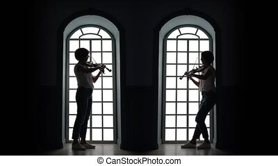 Girl plays the violin in the evening against the background...