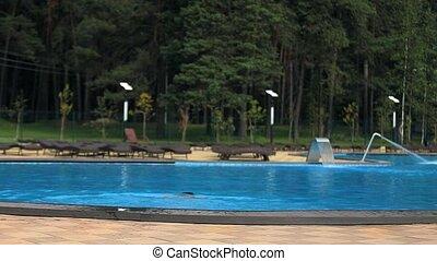 girl, plonge, piscine