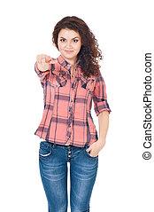 Girl pointing at camera