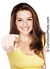 Girl pointing at camera - A beautiful young woman pointing...
