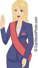Illustration of a Female Politician Taking Her Oath
