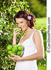 girl, pomme, mange