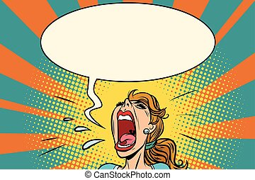 Girl pop art screams in panic. Comic book cartoon retro...