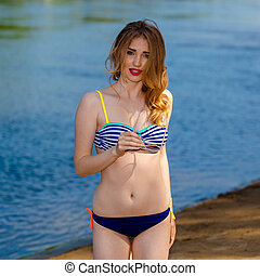 girl, portrait, bronzé, amusement, sun., rivage, extérieur, avoir, maillot de bain, poser, beau, plage.