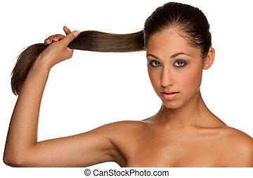 girl, portrait, brunette, elle, cheveux, caucasien, mignon, tenant main